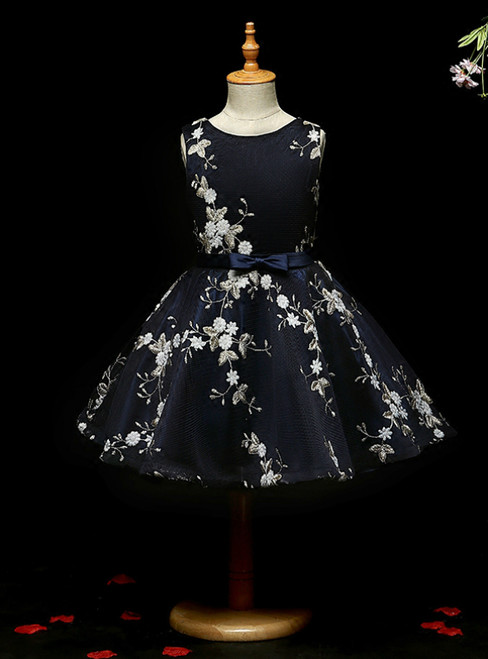 Shop For The Perfect A-line Navy Blue Tulle Embroidery Short Flower Girl Dress