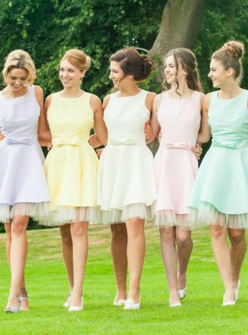 Candy Color Homecoming Dresses Sweet Bridesmaid Dresses Bowknot