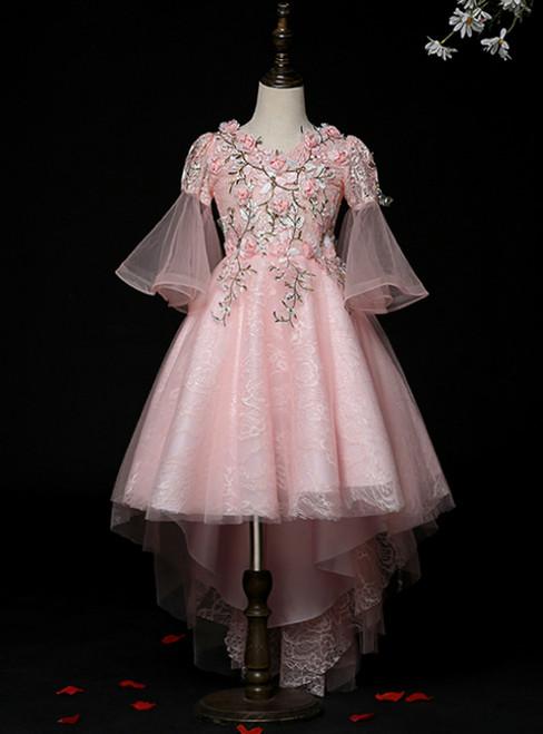 Shop Online Pink Tulle V-neck Puff Sleeve Appliques Flower Girl Dress