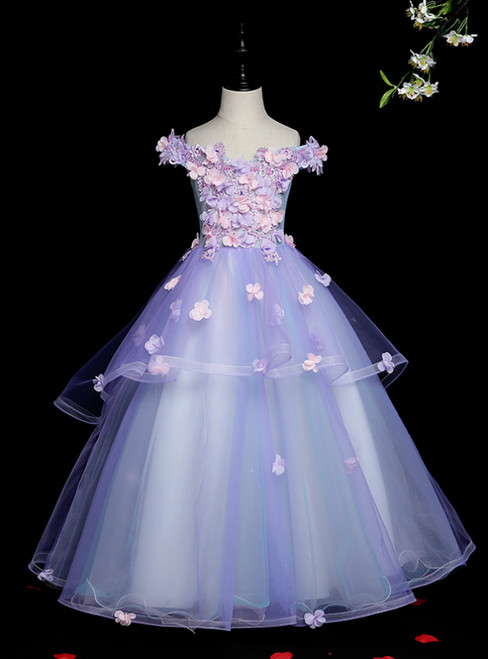 With Kemedress, You'Ll Find Blue Ball Gown Tulle Off the Shoulder Appliques Long Flower Girl Dress