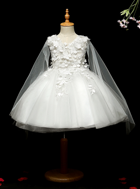 Shop An Amazing Selection Of White Ball Gown Tulle V-neck Appliques Flower Girl Dress