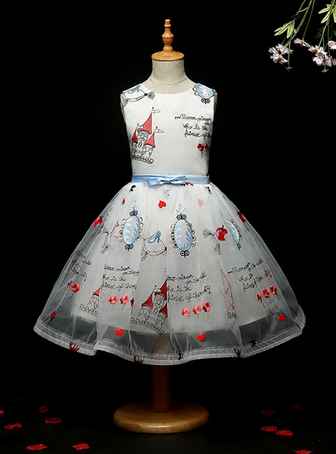 Free Shipping A-Line White Tulle Embroidery Print Flower Girl Dress