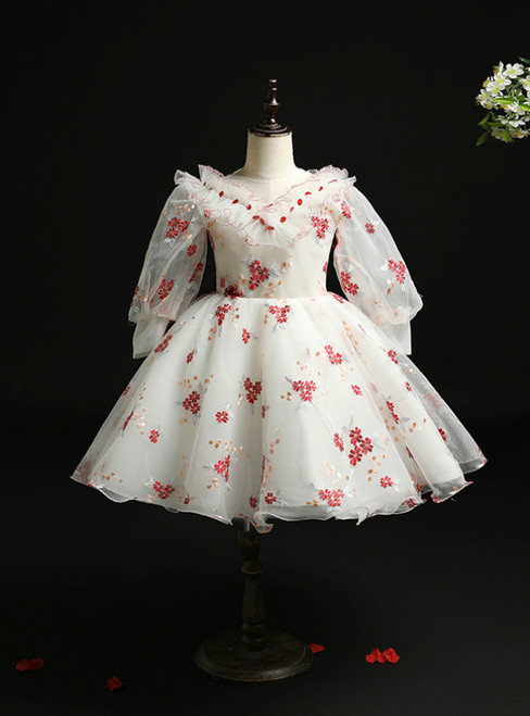 Biggest Sale White Tulle Long Sleeve Embroidery Flower Girl Dress