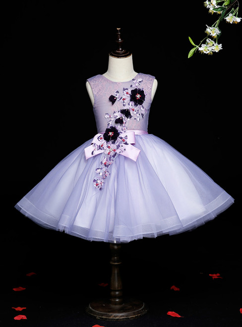 Find Plenty Of Purple Tulle Scoop Sleeveless Appliques Flower Girl Dress