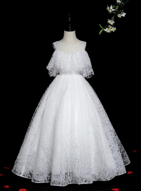 100% Custom Made White Ball Gown Tulle Sequins Long Flower Girl Dress