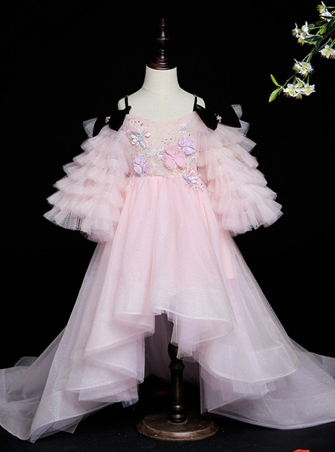 52 Colors Pink Ball Gown Tulle Hi Lo Spagehtti Straps Appliques Flower Girl Dress