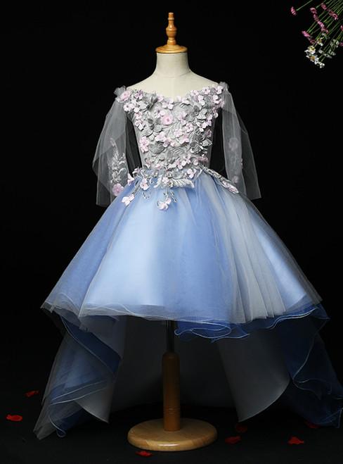 All Sizes Light Blue Hi Lo Tulle Off the Shoulder Appliques Flower Girl Dress