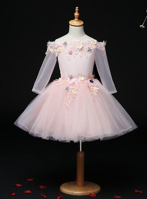 Custom Tailored Pink Tulle Off the Shoulder Long Sleeve Flower Girl Dress
