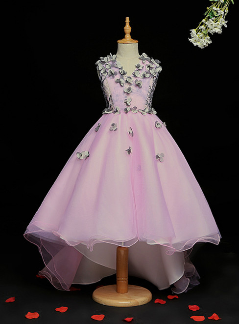 High Quality Light Purple Ball Gown Tulle Hi Lo V-neck Appliques Flower Girl Dress