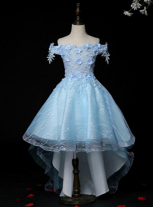 1000+ Styles Blue Tulle Hi Lo Off the Shoulder Appliques Flower girl Dress