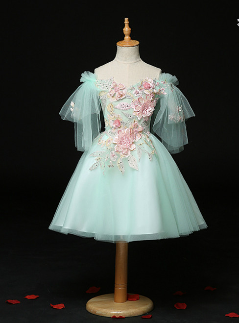 Low Price Guarantee Light Green Tulle Off the Shoulder Appliques Flower Girl Dress