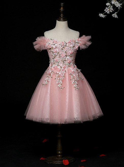Buy More, Save More Pink Tulle Lace Off the Shoulder Appliques Flower Girl Dress