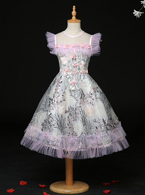 Find All Of The Latest Styles Pink Tulle Embroidery Appliques Feather Flower Girl Dress