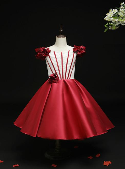 Burgundy Satin Bateau Tea Length Short Flower Girl Dress