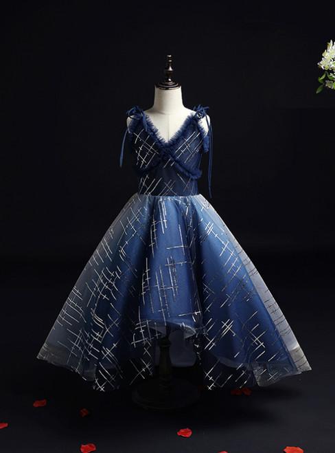 With 1000s Of Navy Blue Tulle Sequins V-neck Hi Lo Flower Girl Dress