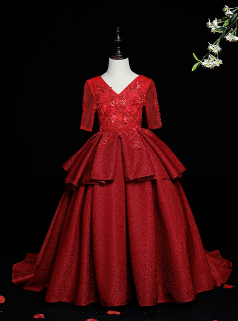 Whether You Are Looking For Burgundy Ball Gown V-neck Short Sleeve Appliques Flower Girl Dress
