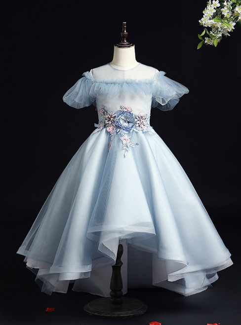 Be The Prom Queen Sky Blue Hi Lo Puff Sleeve Appliques Backless Flower Girl Dress