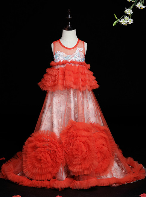 Browse Our Lovely Red Tulle Tiers Scoop Sleeveless Appliques Flower Girl Dress