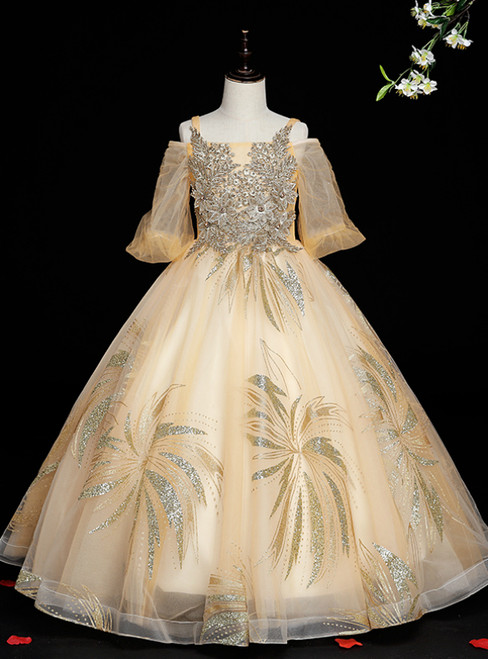 Don't Miss The Amazing & Affordable Gold Ball Gown Tulle Sequins Straps Short Sleeve Beading Flower Girl Dress