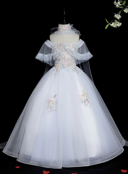 Amazing & Affordable White Ball Gown Tulle Off the Shoulder Appliques Flower Girl Dress