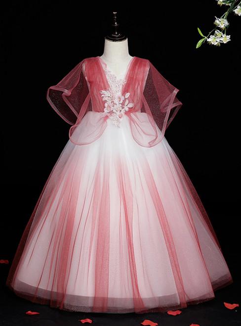 We Provide Red Ball Gown Tulle V-neck Appliques Flower Girl Dress