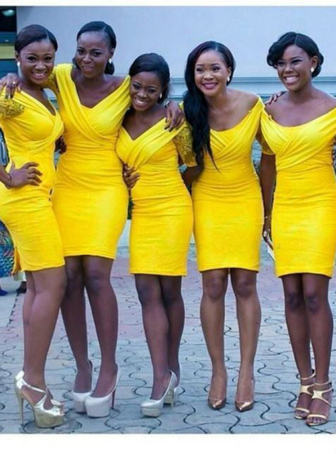 Yellow Hot Sale Short Bridesmaids Dresses Knee Length Slim Sheath Wedding Party