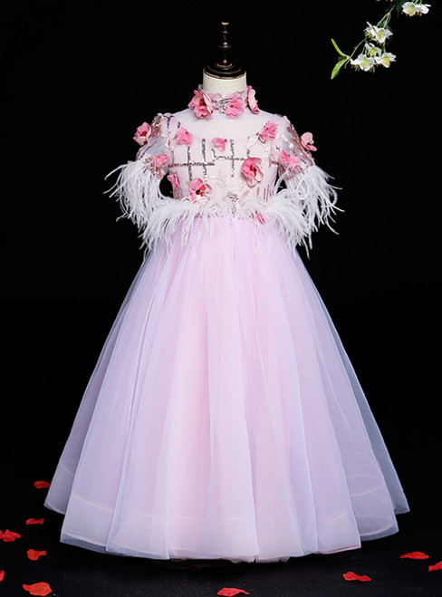 Hottest Items Pink Tulle High Neck Short Sleeve Sequins Appliques Feather Flower Girl Dress