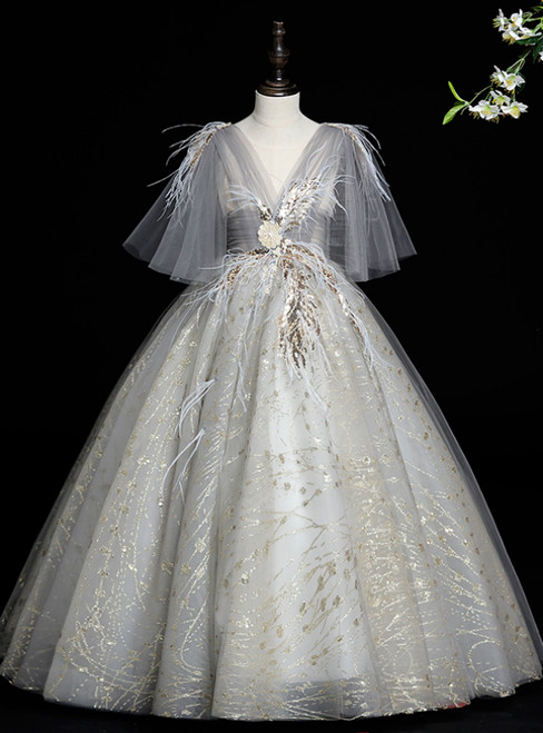 Shop This Selection Of Gray Ball Gown Tulle Sequins Appliques Feather Flower Girl Dress