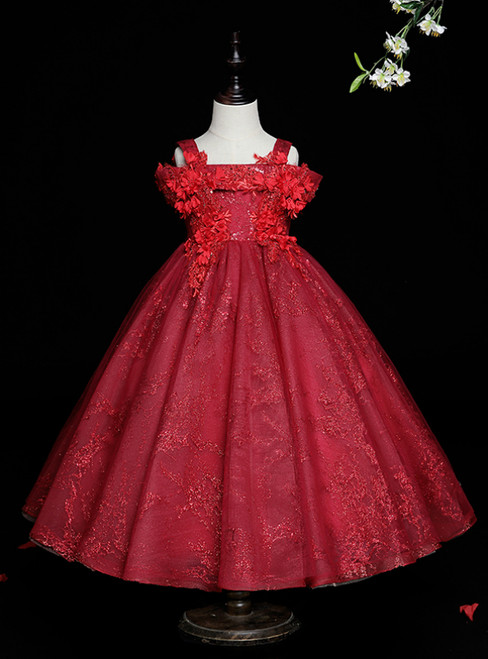 Stand Out With Burgundy Ball Gown Tulle Sequins Straps Appliques Flower Girl Dress