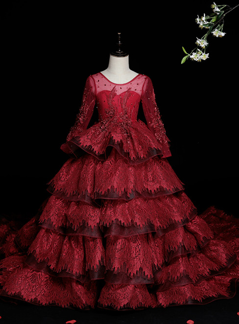 We Carry Burgundy Ball Gown Tulle Lace Long Sleeve Appliques Beading Flower Girl Dress