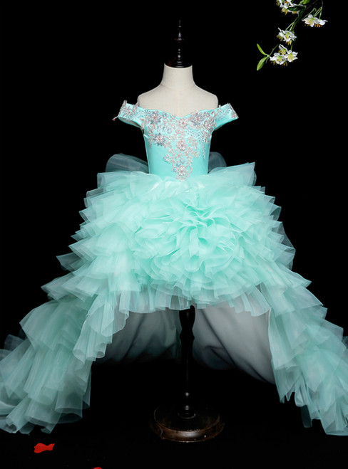 We Are The Destination For Affordable Light Blue Ball Gown Hi Lo Tulle Off the Shoulder Appliques Flower Girl Dress