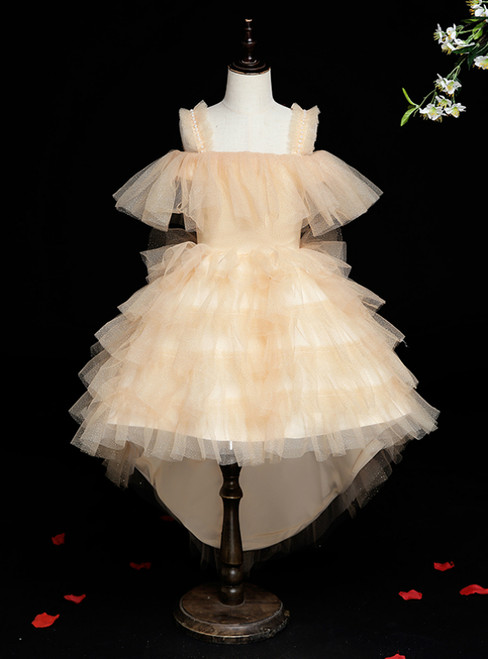 Wide Range Of Gold Tulle Hi Lo Straps Tiers Short Flower Girl Dress