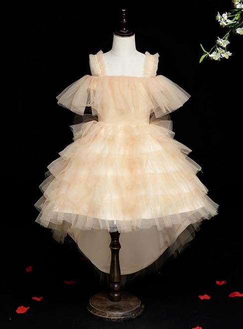 Wide Range Of Gold Tulle Hi Lo Straps Tiers Short Flower Girl Dress