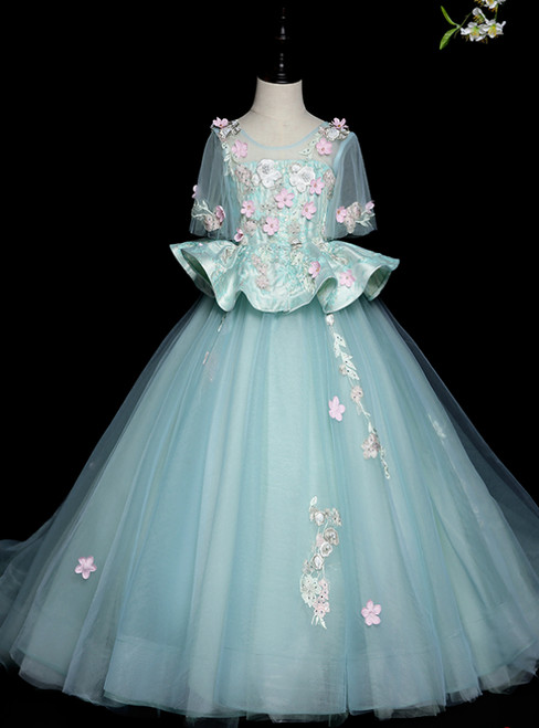 Affordable Light Blue Ball Gown Tulle Short Sleeve Appliques Flower Girl Dress