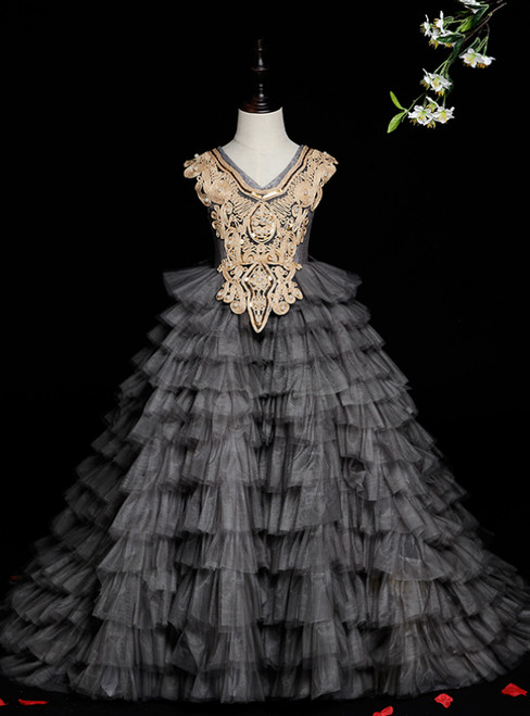 Long & Short Made-To-Measure Gray Ball Gown Tulle Tiers Appliques Pearls Flower Girl Dress