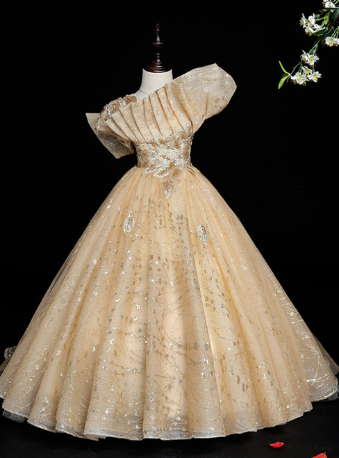 Instead, Opt For a Stylish Gold Ball Gown Tulle Sequins Pleats Embroidery Appliques Flower Girl Dress