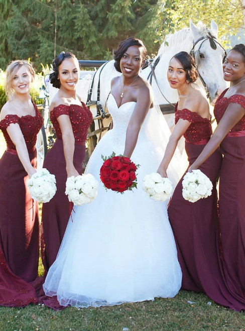 burgundy prom dress burgundy bridesmaid dress mermaid evening dresses