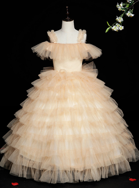 The Best Gold Ball Gown Tulle Sequins Straps Pearls Flower Girl Dress