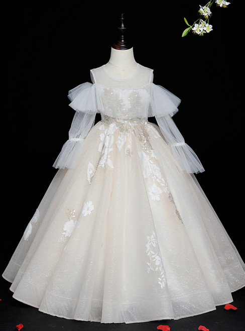 Buy Champagne Ball Gown Tulle Long Sleeve Flower Girl Dress