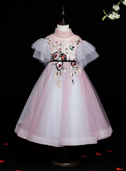 The Best Discount Pink Ball Gown Tulle High Neck Embroidery Puff Sleeve Flower Girl Dress