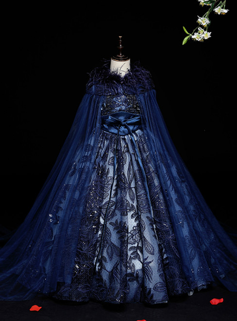 Shop For Cute Navy Blue Ball Gown Tulle Sequins Flower Girl Dress With Feather Shawl