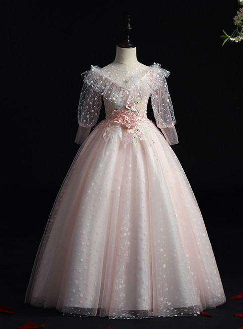The Cheap Price Pink Ball Gown Tulle Short Sleeve Wave Point Appliques Flower Girl Dress