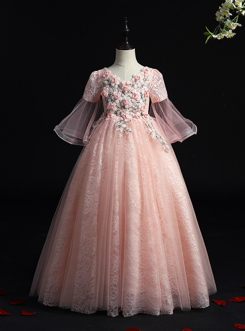 We Specialize In Custom Made Pink Ball Gown Tulle V-neck Short Sleeve Appliques Floor Length Flower Girl Dress