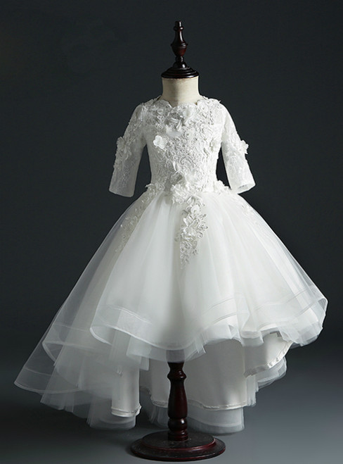 Brand New White Ball Gown Tulle Short Sleeve Appliques Flower Girl Dress