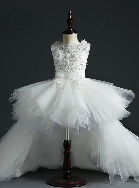 Find The Perfect White Ball Gown Tulle Hi Lo Appliques Beading Flower Girl Dress