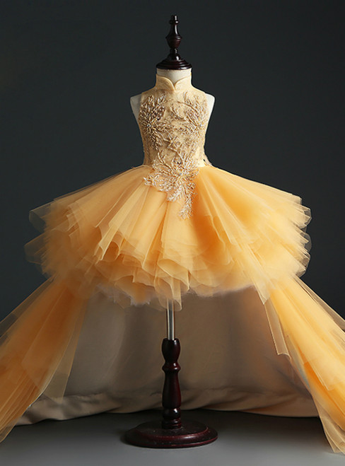 Find And Buy The Perfect Gold Ball Gown Tulle High Neck Hi Lo Appliques Flower Girl Dress