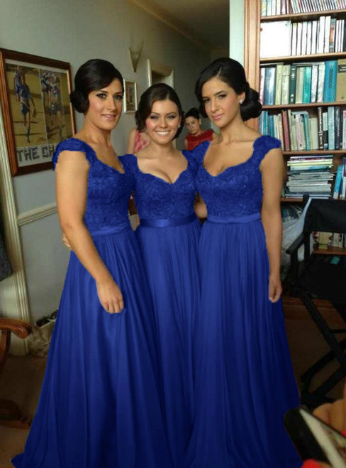 Cap Sleeve Lace Long Floor Length Bridesmaid Dresses