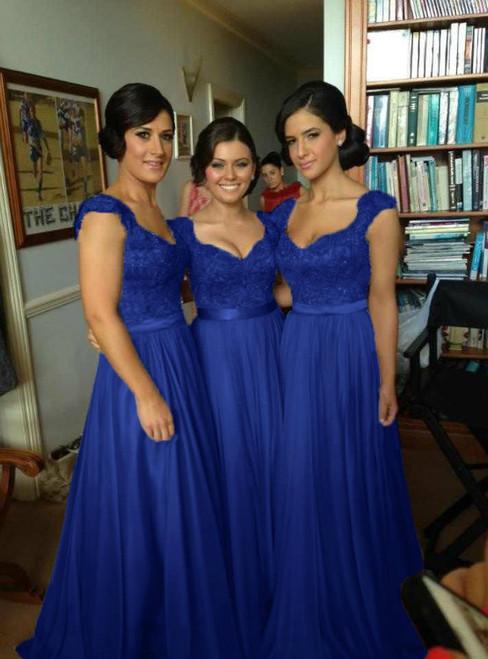 Cap Sleeve Lace Long Floor Length Bridesmaid Dresses