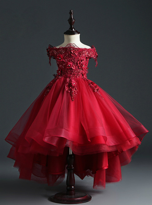 Get An On-Trend Burgundy Ball Gown Tulle Hi Lo Off the Shoulder Appliques Flower Girl Dress