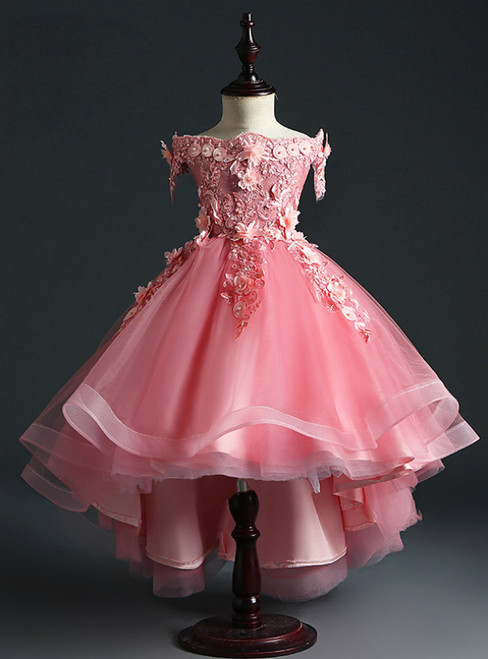 Get a Prom-Ready Look Pink Ball Gown Tulle Hi Lo Off the Shoulder Appliques Flower Girl Dress